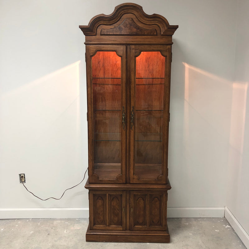 Thomasville Dark Oak Illuminated Curio Display Cabinet