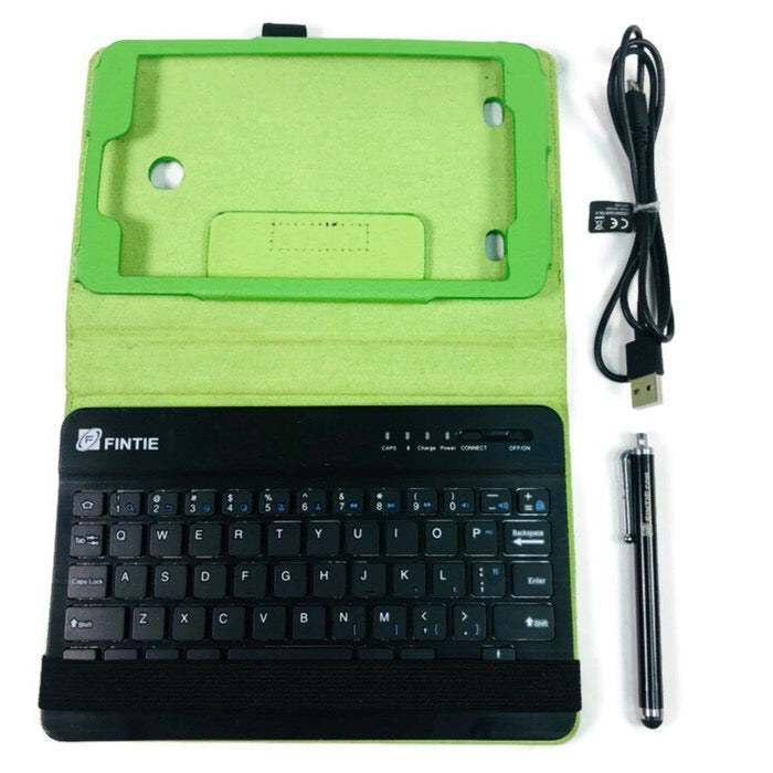 "Fintie Green Leather 8"" Tablet Case Cover Bluetooth Wireless Black Keyboard"