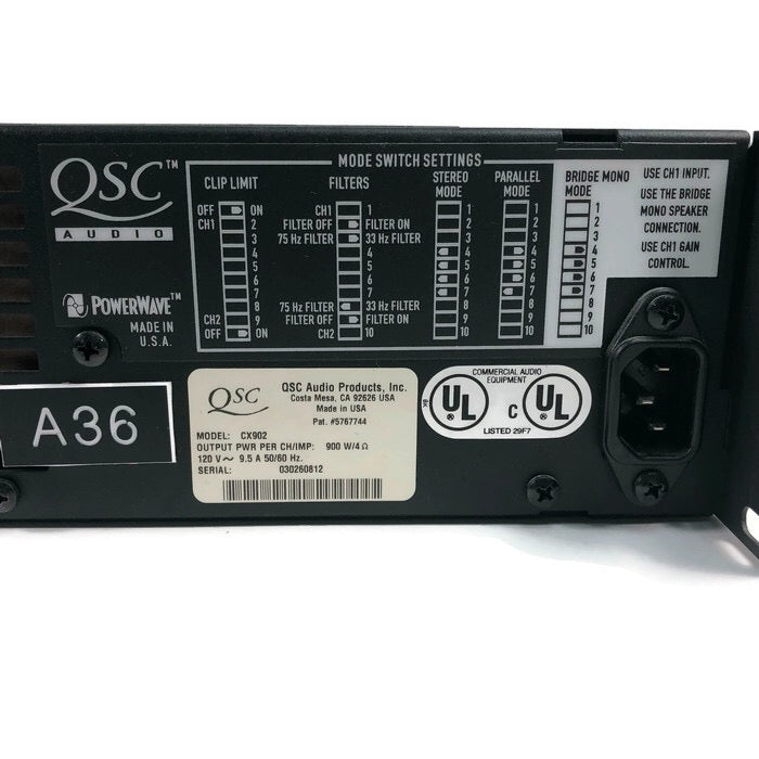 QSC CX902 Professional Amplifier 2 Channel 900w Amp