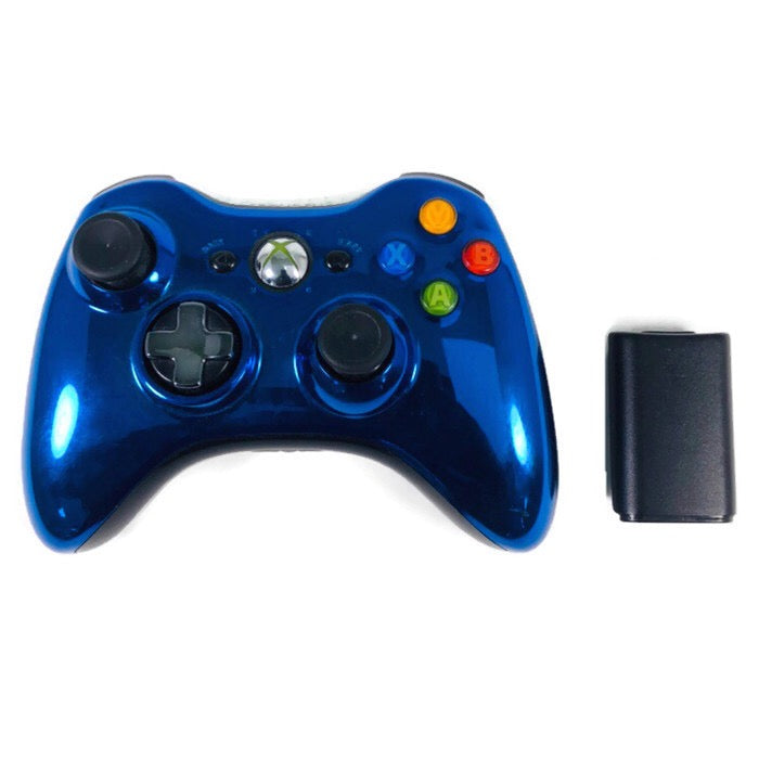 Microsoft Xbox 360 Chrome Metallic Blue Wireless Controller 1404