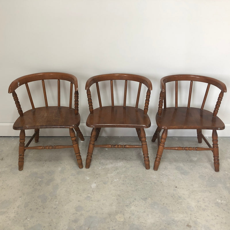 "(3) Small Maple Wood Child 21"" Chairs"