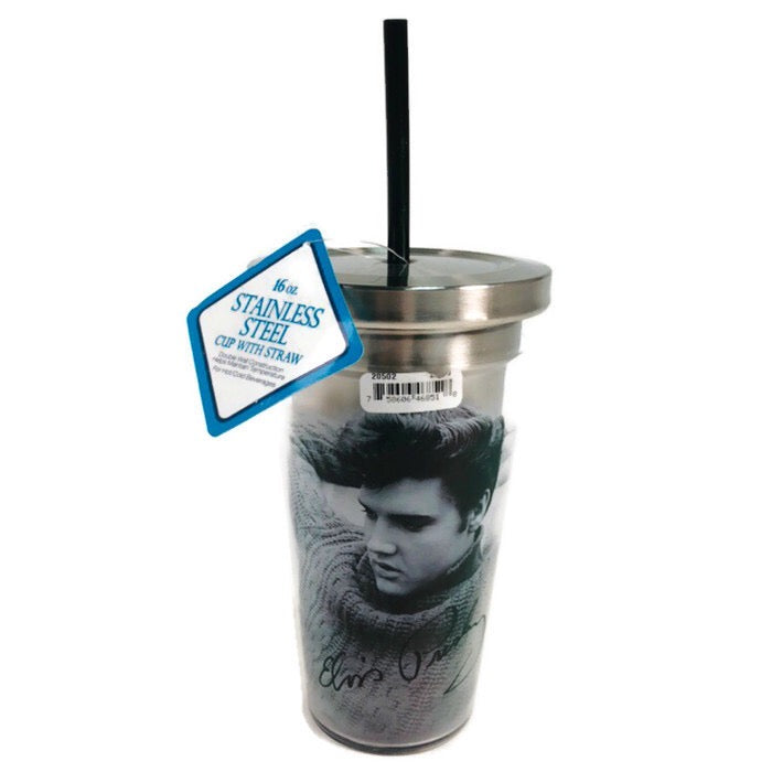 Spoontiques Elvis 16 oz. Stainlses Steel Cup w/ Straw