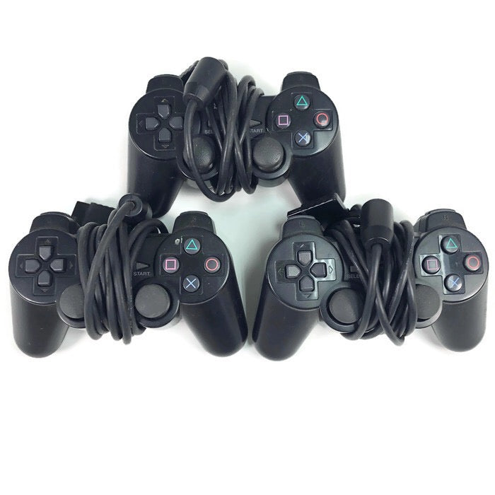 (3) Playstation 2 PS2 Controllers SCPH-10010 Lot FOR PARTS