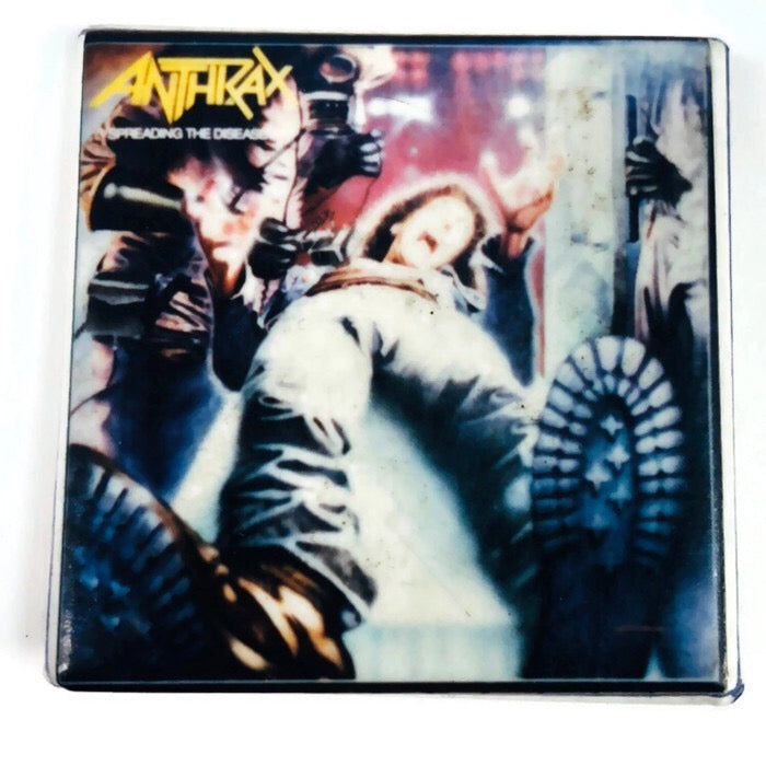 "Anthrax Spreading The Disease 1.5"" Pinback Square Pin"