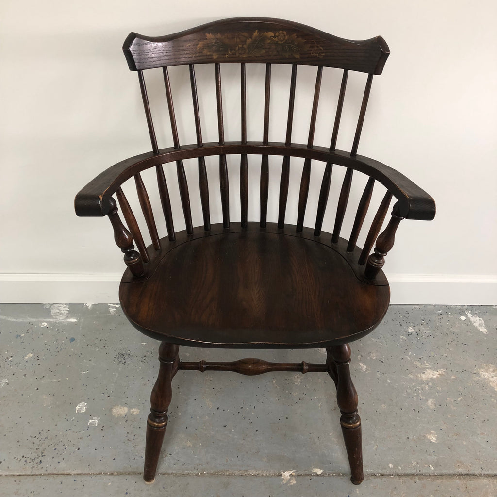 L. Hitchcock Signed Spindal Back Stenciled Vintage Oak Wood Arm Chair