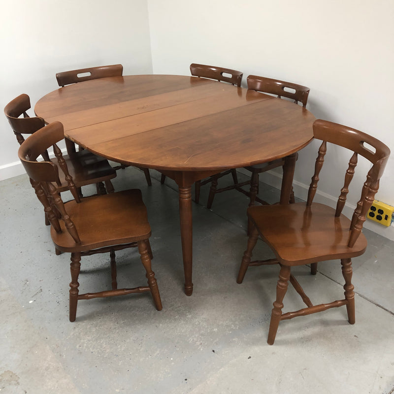 Walter Wabash Maple 6 Chair 2 Leaf Dining Room Table Set