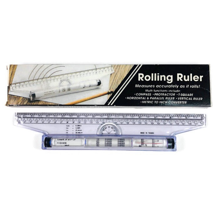 "Rolling Ruler 12"" Vintage Multifunction Compass Protractor Metric To Inch Converter Ruler +"