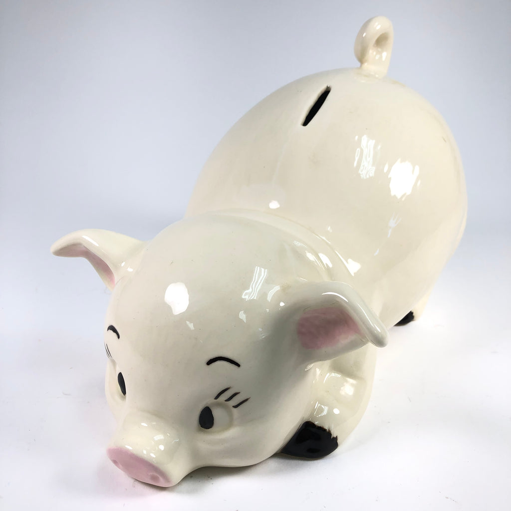 "1988 White Ceramic 13"" x 8"" Pig Piggy Bank"