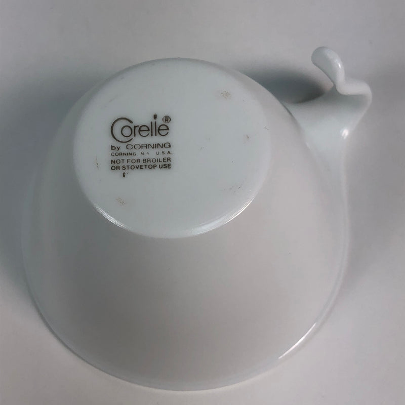 (4) Corelle Corning Frost White Hook Handle Coffee Mug Tea Cup & Saucer Plate Set