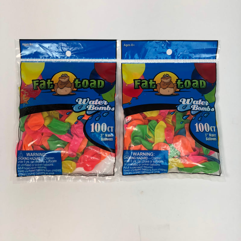 "(2) New Fat Toad 100 ct. 3"" Water Balloon Bombs (200 ct.)"