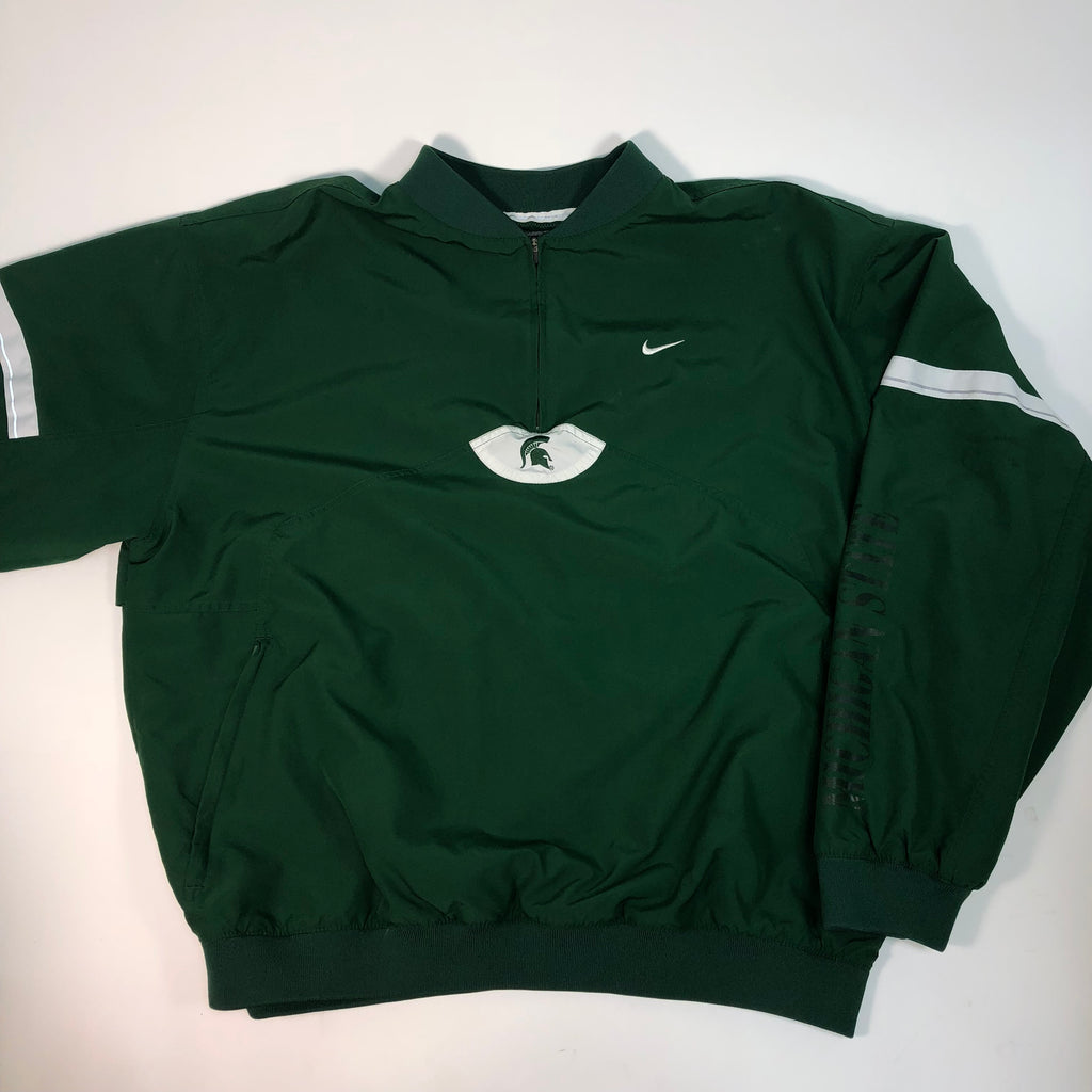 Michigan State Nike Authentic Team Apparel XL Pull Over Jacket Rain Coat