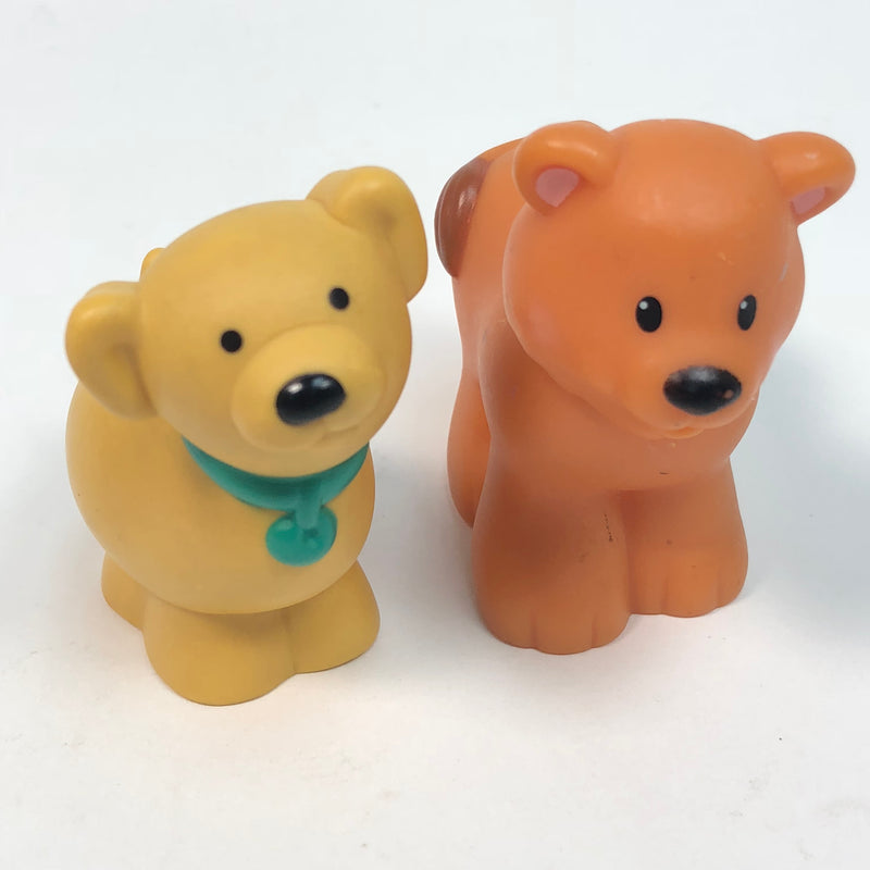 (2) Fisher Price Little People 1995 Yellow Puppy Dog & Orange Bear Animals