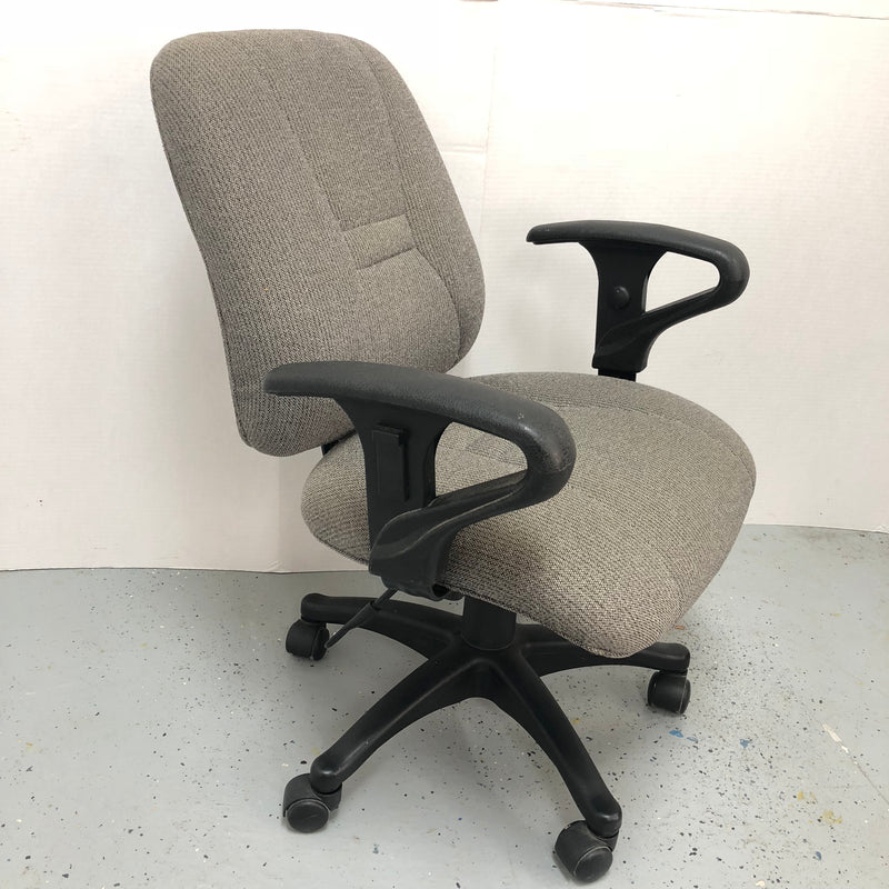 Grey Fabric Office Computer Chair w/ Adjustable Arms & Seat
