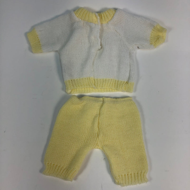 Cabbage Patch Kids Cpk Yellow White Knit Sweatsuit Scarf Outfit