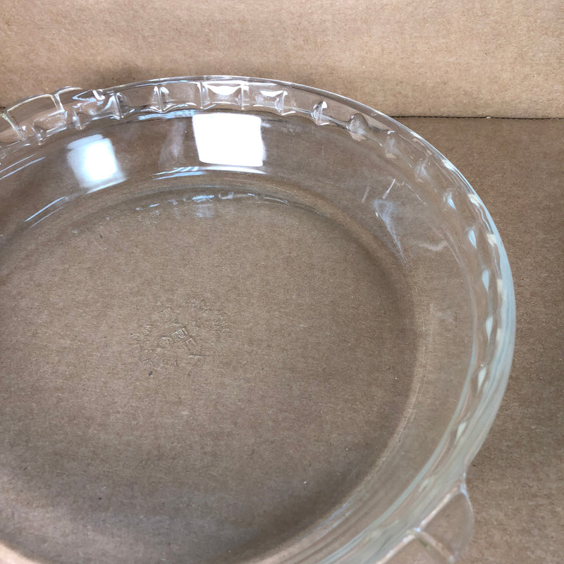 "(2) Pyrex Fluted Scalloped Edge Handles Clear Glass 9 1/2"" Pie Dish Pan 229"