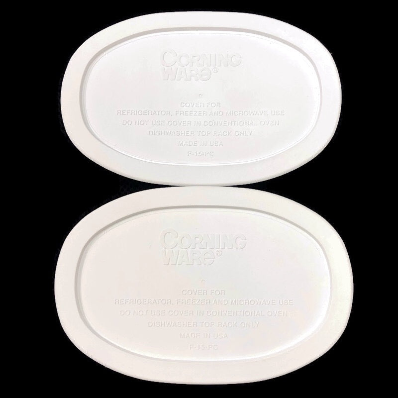 "(2) Corning Ware French White Oval 7.5"" Casserole Dish Lid Covers F-15-PC"