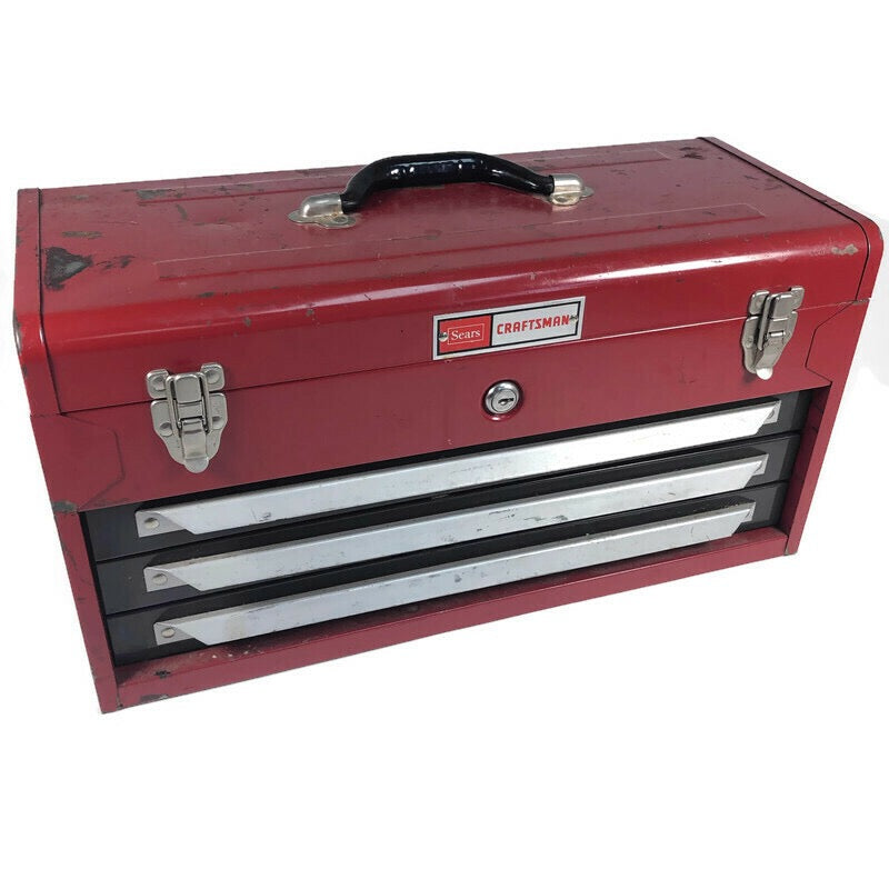 Sears Craftsman Vintage Red Spring Loaded Lock Top Storage 3 Drawer Tool Box Chest