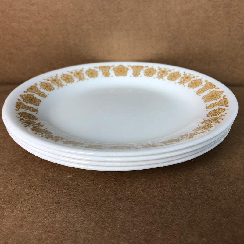"(4) Corelle Gold Flower Butterfly Luncheon Lunch 8 1/2"" Plate Set"