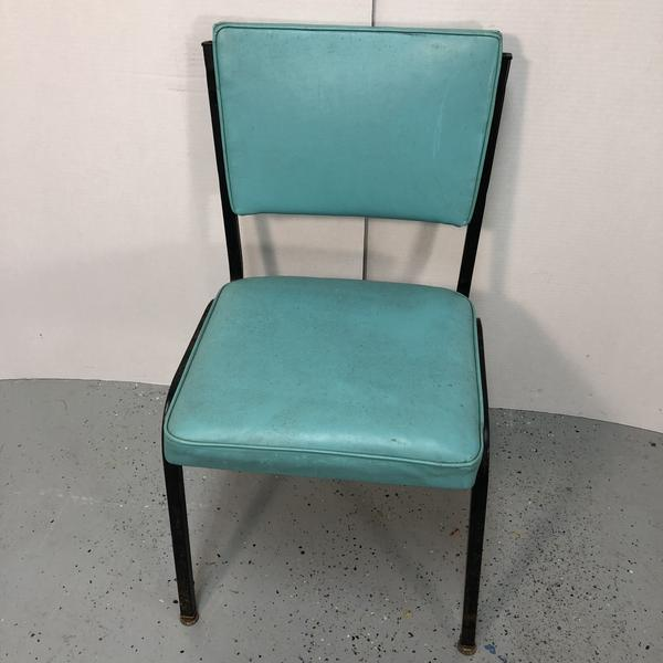 B. Brody Turquoise Blue Leather Cushion Metal Frame Vintage Dining Chair