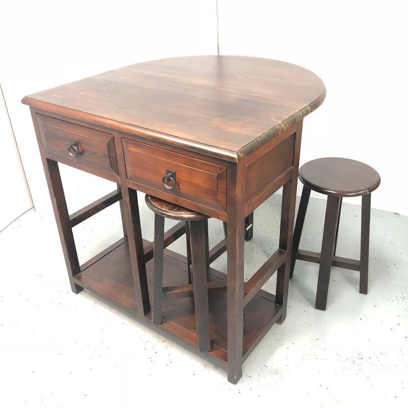 "Dark Brown Fold Out Table w/ 2 Drawers & Two 20.5"" Bar Stools"
