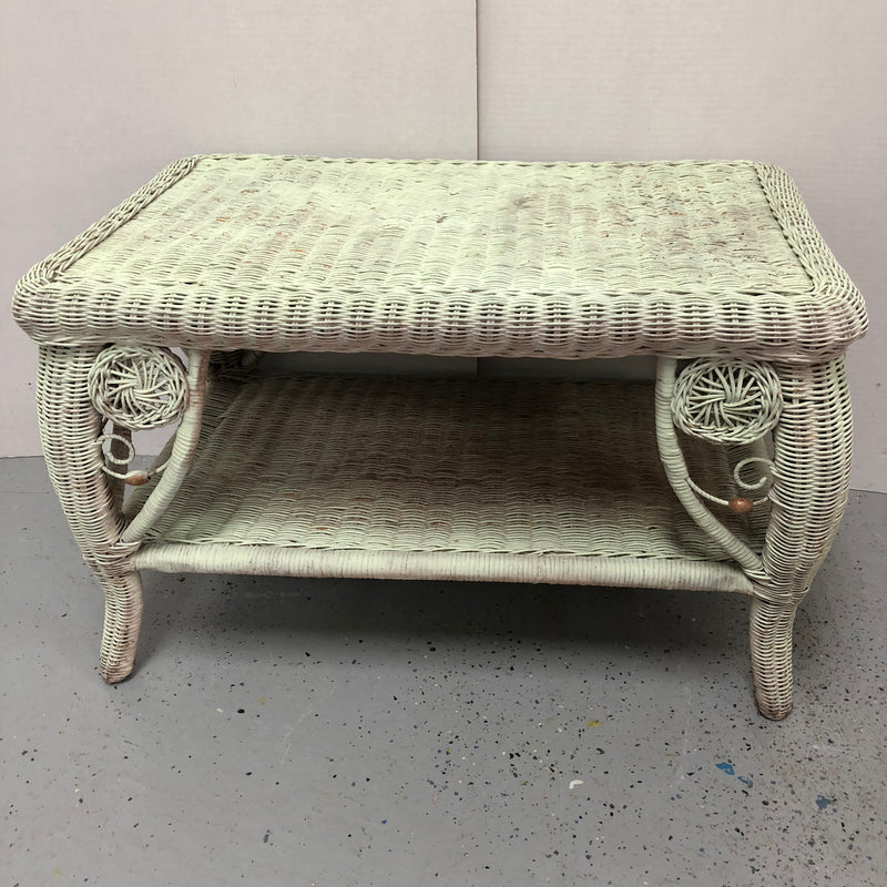 Light Green Wicker Coffee Table