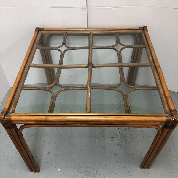 "38.5"" Rattan Square Glass Top Table"
