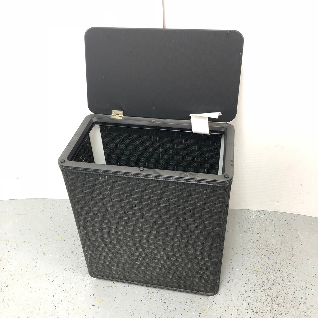 Black Hamper Replicated Wicker Design