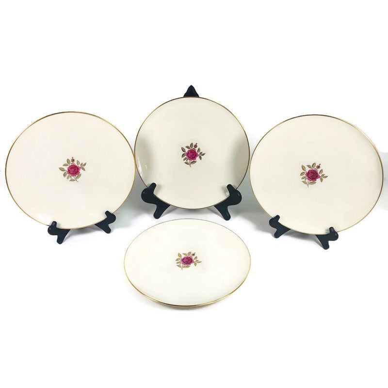 "(4) Lenox Roselyn Ivory Rose Gold Trim 10.5"" Dinner Plates X304"