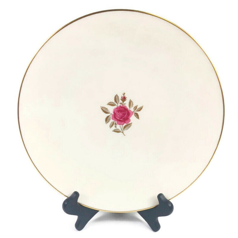 "Lenox Roselyn Ivory Rose Gold Trim 8"" Salad Plate X304"