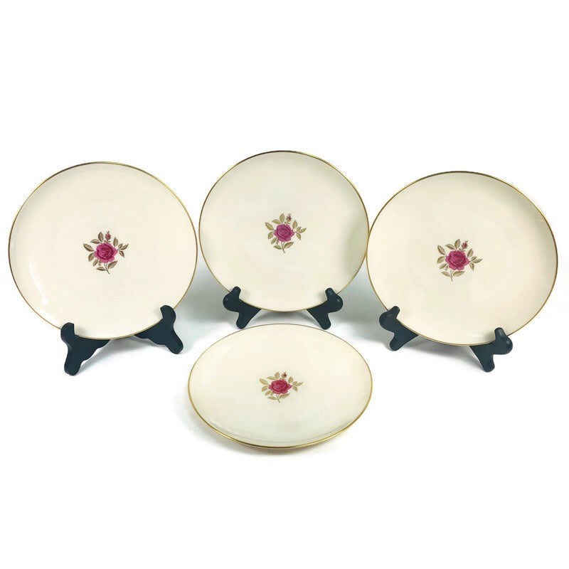 "(4) Lenox Roselyn Ivory Rose Gold Trim 8"" Salad Plates X304"