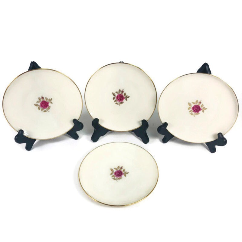 "(4) Lenox Roselyn Ivory Rose Gold Trim 6.25"" Bread Butter Plates X304"