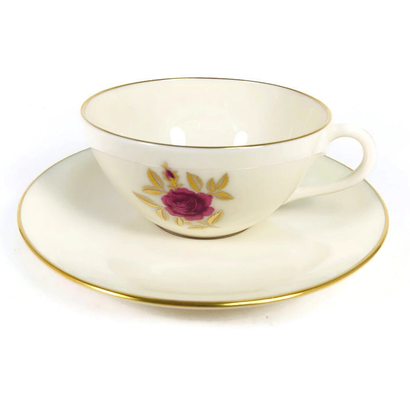 "Lenox Roselyn Ivory Rose Gold Trim 6"" Saucer Cup Plate Teacup Set X304"