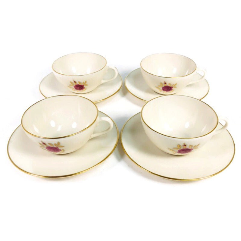 "(4) Lenox Roselyn Ivory Rose Gold Trim 6"" Saucer Cup Plate Teacup Sets X304"