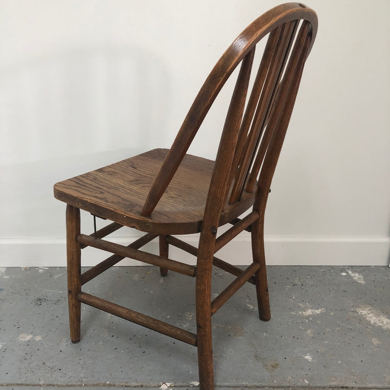 Marietta Chair Company Vintage Spindal Back Metal Support Oak Chair