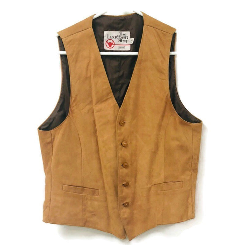 Sears The Leather Shop Vintage Brown Suede 40R Reg. Vest