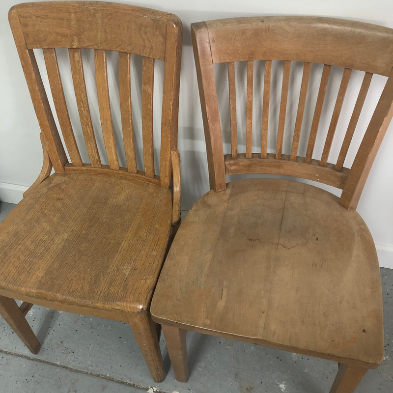 (2) Vintage Light Brown Solid Wood Chairs
