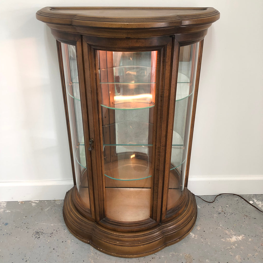 "36"" Illuminated Curved Glass 2 Shelf Vintage Brown Wood Curio Cabinet"
