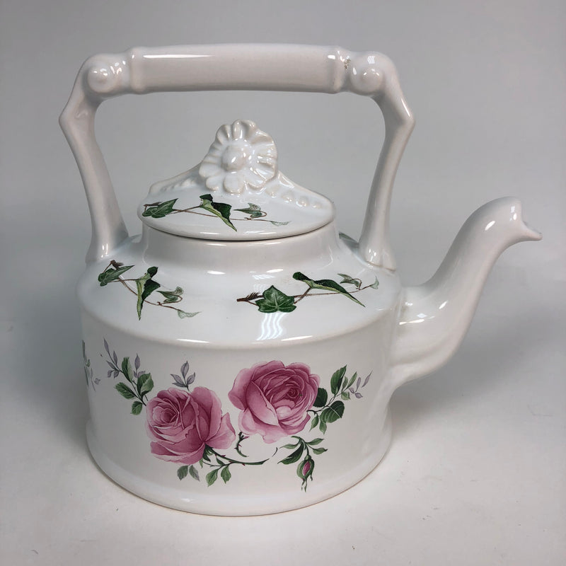 "Arthur Wood Pink Rose Bouquet Handle 5.5"" Teapot w/ Lid Made In England # 6426"