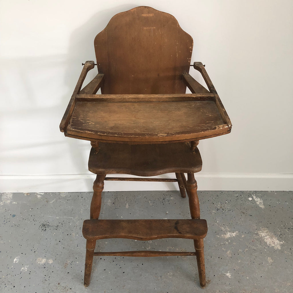 "36"" Vintage Solid Wood Highchair"