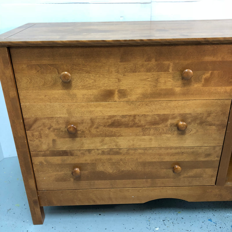 3 Drawer Wood Dresser w/ Door Storage