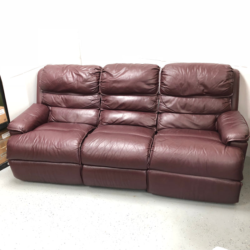 Red Double Reclining Leather 3 Seat Sofa Couch