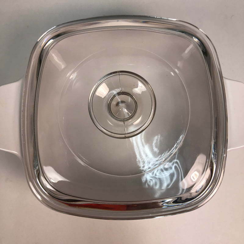(3) Corning Ware Corelle Abundance 1-2 L Liter Square White Berries Fruit Casserole Dishes 2 Lids