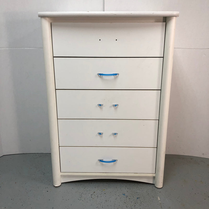 Palliser White Wooden 5 Drawer Tall Boy Dresser Chest
