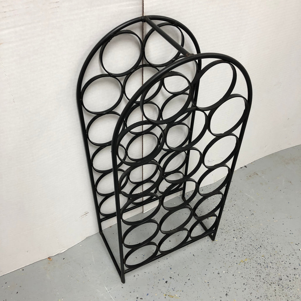 "27"" Black Wrought Iron Wine Rack Holder Stand"
