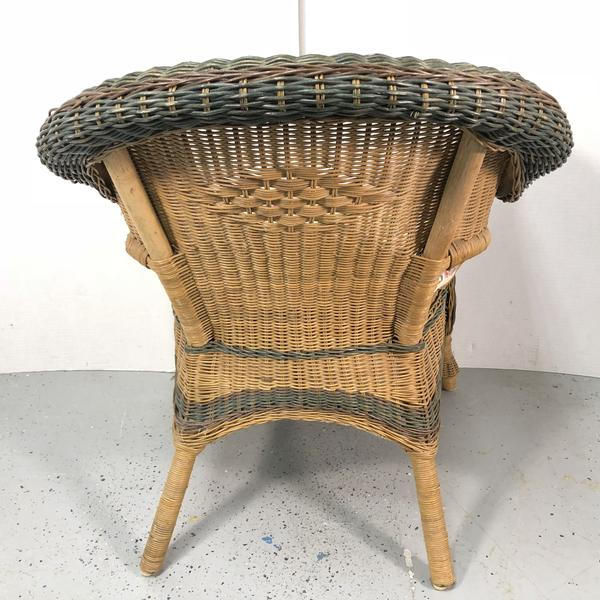 Wicker Chair w/ Floral Cushion