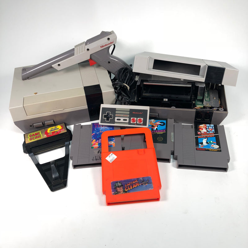 Nintendo System NES Consoles + Controllers + Game Lot For Parts Repair AS IS