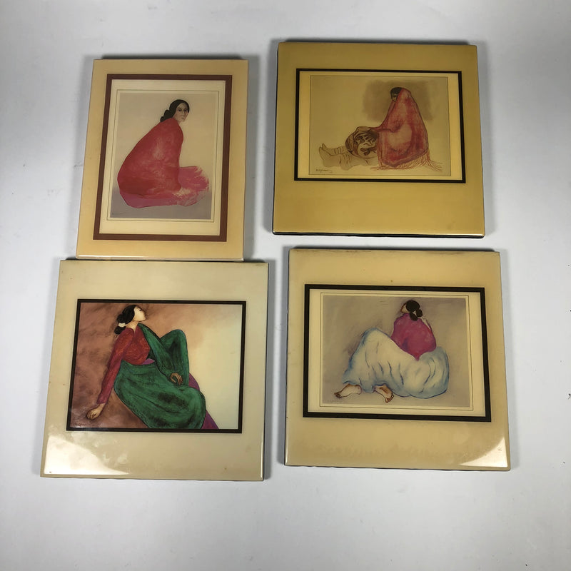 (4) RC Gorman Navajo Native American Crystal Tile Art Lot
