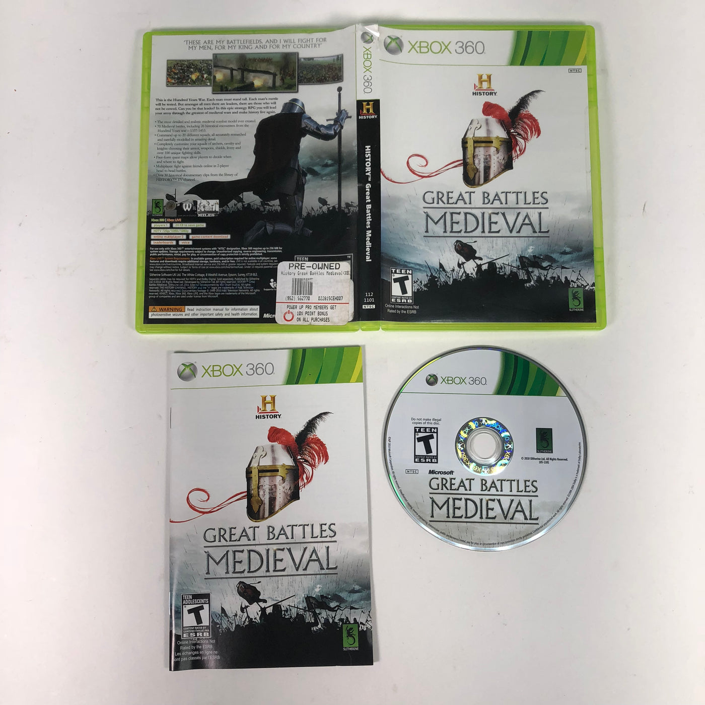 History Great Battles Medieval Microsoft Xbox 360 Complete
