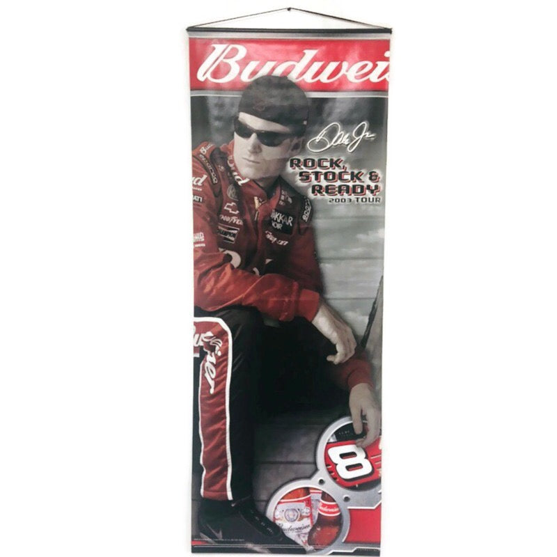 "Budweiser Dale Earnhardt Jr Rock Stock & Ready 2003 NASCAR 22"" x 60"" Double Sided Vinyl Sign"