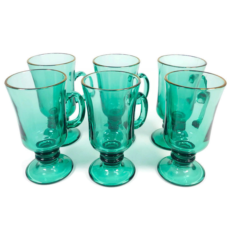 (6) Libbey Emerald Green Gold Rim Glass Coffee Cup Mug Set
